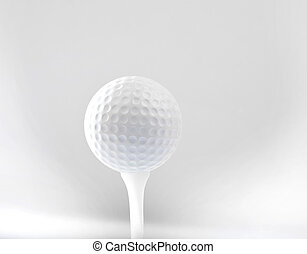 golf ball on tee and grey space bac