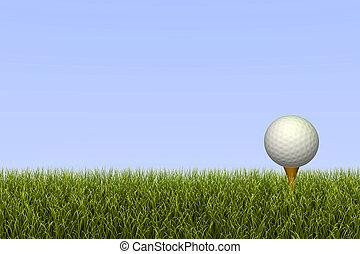 Golf Ball on Tee - Golf ball on a tee against a grass and...