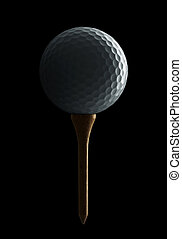 golf ball on tee isolated on black background