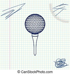 Golf ball on tee line sketch icon isolated on white background. Vector Illustration