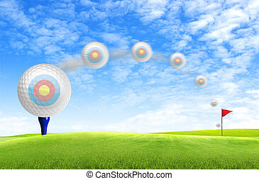 Golf ball on tee off with green grass field over the blue sky background
