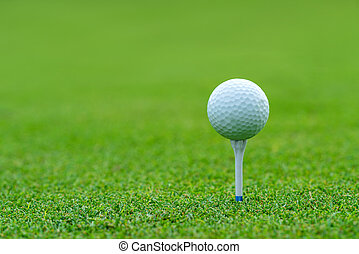 Golf ball on tee ready to be shot at golfcourt