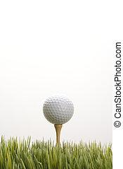Golf ball on tee. - Studio shot of golf ball resting on tee...