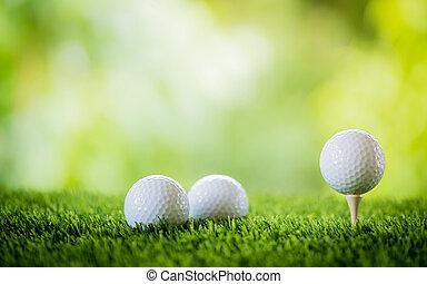 golf ball on tee to tee off