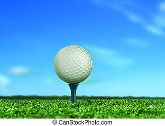 Golf Ball on Tee under Blue Sky