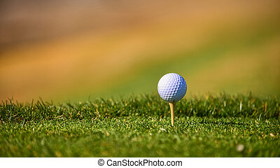 Golf ball on the edge of tee