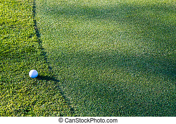Golf ball on the edge of the green