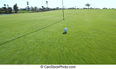 Golf ball on the Golf course in motion - Golf ball on the...