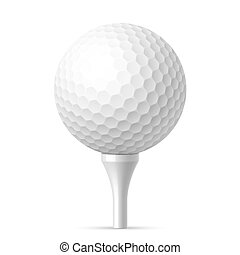 Golf ball on white tee illustration