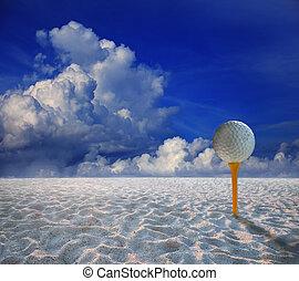 golf ball on yellow tee and and lan