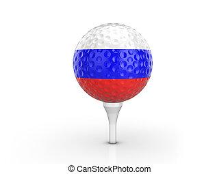 Golf ball Russia flag