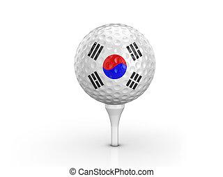 Golf ball South Korea flag