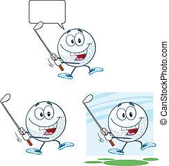 Golf Ball Swinging A Golf Club - Golf Ball Cartoon Character...