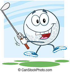 Golf Ball Swinging A Golf Club