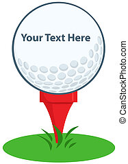Golf Ball Tee Sign Cartoon Character