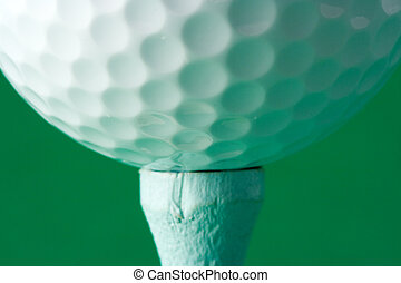 Golf Ball Teed Up - Close-up of a Golf Ball on a Tee