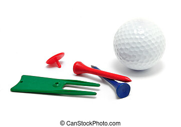 Golf Ball, Tees, Marker, and Divot (Ball Mark) Repair Tool isolated on a white background
