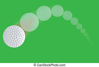 Golf Ball Trajectory - A speeding golf ball with a faded...