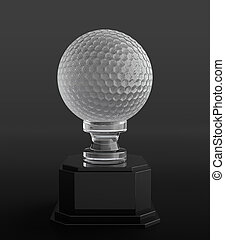 Golf ball trophy - 3d render of crystal golf ball trophy on...