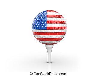 Golf ball USA flag