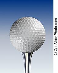 Golf ball - White golf ball on tee, blue background - 3d...