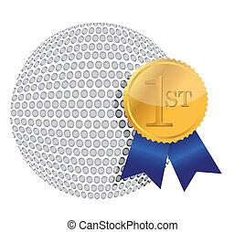 golf ball with award illustration
