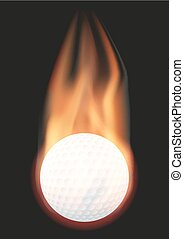 Golf ball with flame
