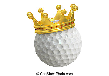 Golf ball with gold crown, 3D rendering