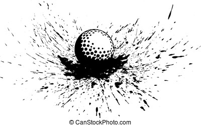 Golf Ball with Splatter - Black and white vector...