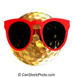 Golf Ball With Sunglasses. 3d illustration