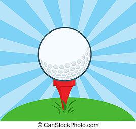 Golf Ball With Tee Ready