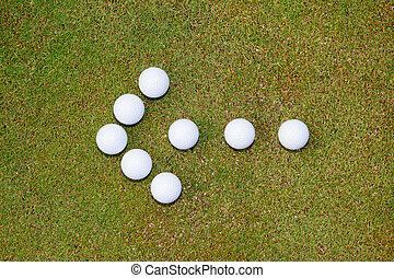 Golf balls arrow
