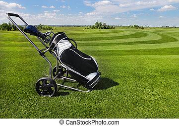 Golf balls green grass background