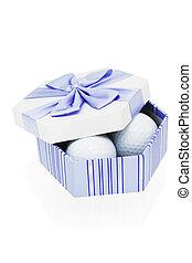 Golf balls in gift box