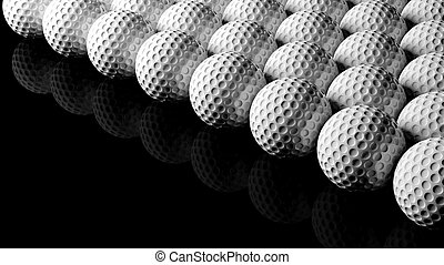Golf balls, isolated on black background with reflection.