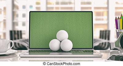 Golf balls on a laptop - office background. 3d illustration