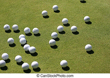 golf balls on the green