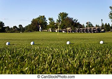Golf balls on the practice green