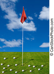 Golf balls on the putting green