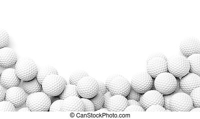 Golf balls pile with copy-space isolated on white background...