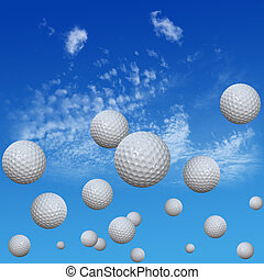 Golf Balls set in High Cloud Sky