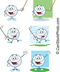 Golf Balls With Different Poses