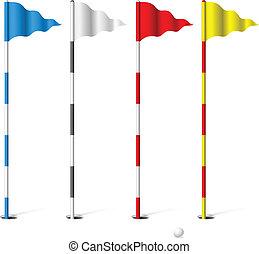 golf, banderas