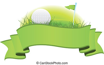 Golf Banner - Illustration of a green golf banner with...