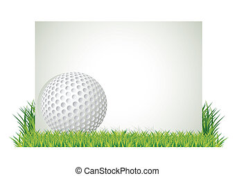Golf banner - Golf ball in front of empty banner in the ...