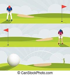 golf, bannière, terrain de golf