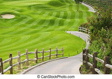 golf, barrière, bois, champ, vert, picteresque