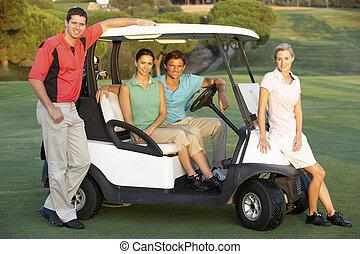 golf bogue, cours, équitation, groupe, amis