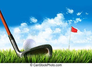 golf bold, hos, tee, ind, den, græs