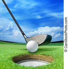 golf bold, nær, bunker